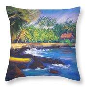 Kealakekua Bay Throw Pillow by Karin  Leonard