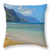 Ke'e Beach Throw Pillow