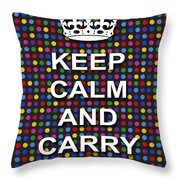 Keep Calm And Carry On Poster Print Blue Green Red Polka Dot Background Throw Pillow