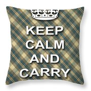 Keep Calm And Carry On Poster Print Green Brown Plaid Background Throw Pillow