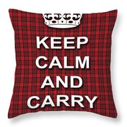 Keep Calm And Carry On Poster Print Red Black Stripes Background Throw Pillow