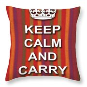 Keep Calm And Carry On Poster Print Red Purple Stripe Background Throw Pillow
