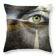 Keep Your Eyes On The Road Throw Pillow