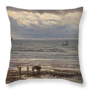 Kelp Gatherers Throw Pillow by Henry Moore