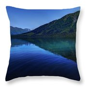 Kenai Lake Blues Throw Pillow