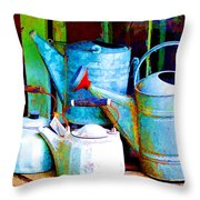 Kettles And Cans To Water The Garden Throw Pillow