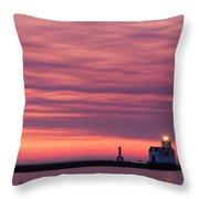 Kewaunee Lighthouse At Sunrise Throw Pillow