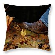 Kicking Fallen Autumn Leaves Throw Pillow by Oleksiy Maksymenko
