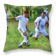 Kicking Soccer Ball Throw Pillow