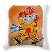 Kids Art Firedog Firefighter  Throw Pillow