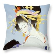 Kiku Throw Pillow by Haruyo Morita