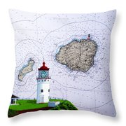 Kilauea Point Lighthouse On Noaa Chart Throw Pillow
