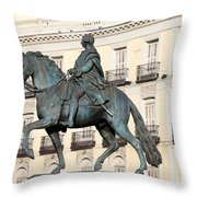 King Charles IIi Statue On Puerta Del Sol Throw Pillow
