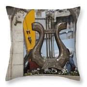 King David's Harp Throw Pillow
