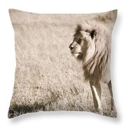 King Of Cats In Sepia Throw Pillow