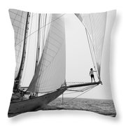 king of the world - a classic sailboat with all sails plying the sea on the island of Menorca Throw Pillow