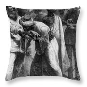 King Riouga And Samuel Baker, 1869 Throw Pillow by Photo Researchers