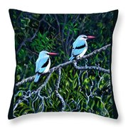 Woodland Kingfisher Throw Pillow