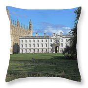 Kings College Chapel And The Gibbs Building Throw Pillow