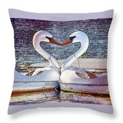 Kissing Swans Throw Pillow