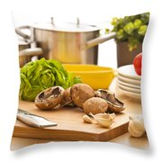 Kitchen Still Life Preparation For Cooking Throw Pillow