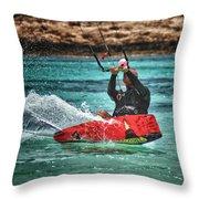 Kitesurfer Throw Pillow by Stelios Kleanthous