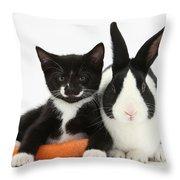 Kitten, Rabbit And Carrot Throw Pillow
