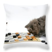 Kittens Playing Checkers Throw Pillow