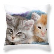 Kittens Under Blanket Throw Pillow