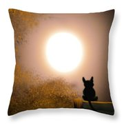 Kitty And The Moon Throw Pillow