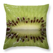 Kiwi Fruit Reflected On Glass Throw Pillow by Mark Duffy