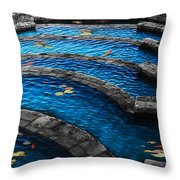 Koi Blue Throw Pillow