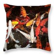 Koi Fish Movement Iv Throw Pillow