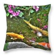 Koi Fish Poses Throw Pillow
