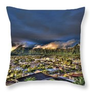 Koolau Mountains With Lighttrack App Throw Pillow