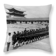 Korean Soldiers At The Old Royal Palace In Seoul - C 1904 Throw Pillow