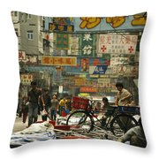 Kowloon Street With Workers Setting Throw Pillow