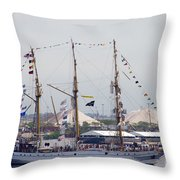 Kri Dewaruci Passing By Fort Mchenry Throw Pillow