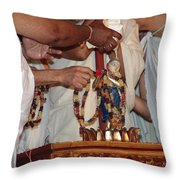 Krishna And Priests Throw Pillow