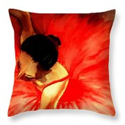 La Ballerine Rouge Dans Le Theatre Throw Pillow by Rusty Woodward Gladdish