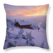 La Chouette Cabin At Twilight, Gaspesie Throw Pillow