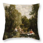 La Mare Aux Fees Throw Pillow by Pierre Auguste Renoir