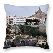 A Galleon At Bottom Of Port Mahon Menorca One Of The Largest Natural Harbours In The World Throw Pillow