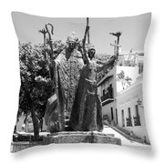 La Rogativa Sculpture Old San Juan Puerto Rico Black And White Throw Pillow by Shawn O'Brien