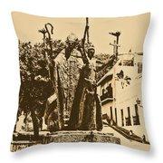 La Rogativa Sculpture Old San Juan Puerto Rico Rustic Throw Pillow
