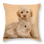 Labradoodle Puppy With Rabbit Throw Pillow
