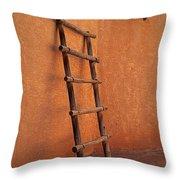Ladder Against Adobe Wall Throw Pillow