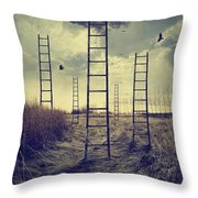 Ladders Reaching To The Sky In A Autumn Field Throw Pillow