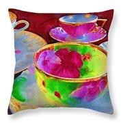 Ladies Tea Time Throw Pillow