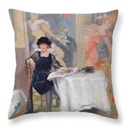 Lady At A Cafe Table  Throw Pillow
